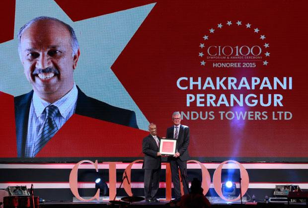 The Versatile 100: Chakrapani Perangur, CIO of Indus Towers receives the CIO100 Award for 2015