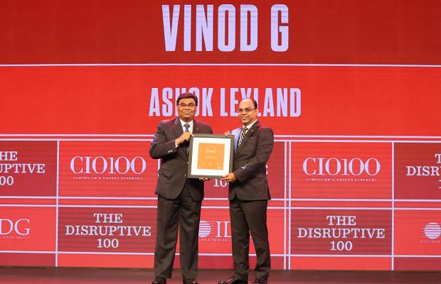 The Disruptive 100: Vinod G, Head of Digital and Chief Digital Architect, Ashok Leyland  receives the CIO100 Award for 2019