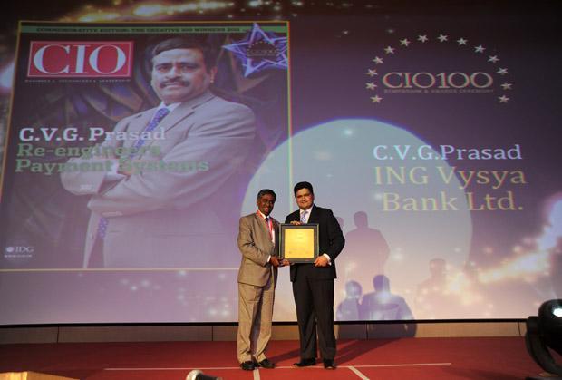 The Creative 100: C V G Prasad, CIO, ING Vysya Bank receives CIO100 Award for 2011