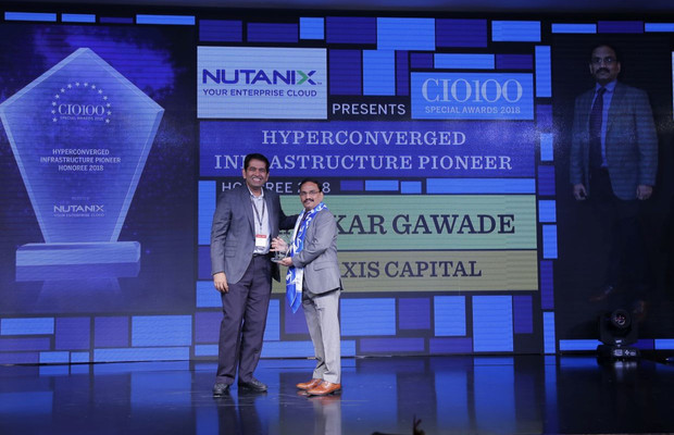 Hyperconverged Infrastructure Pioneer: Shankar Gawade, Vice President And Head – Information Technology, Axis Capital, receives the CIO100 special award for 2018 from Sunil Mahale, VP & MD Nutanix India