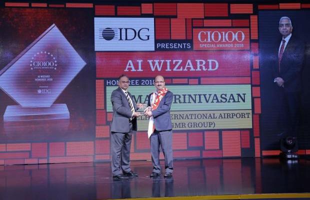 AI Wizard: Raman Srinivasan, CIO, Delhi International Airport, receives the CIO100 special award for 2018