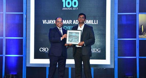 Vijaya Kumar A, IT Security-GRC Head and AGM, Cyient Limited receives the CSO100 Award for 2017.