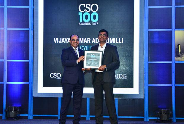 Vijaya Kumar A, IT Security-GRC Head and AGM, Cyient Limited receives the CSO100 Award for 2017.