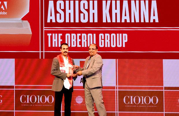 Customer Experience Icon: Ashish Khanna, Deputy VP-IT, Oberoi Group receives the CIO100 Special Award for 2019 from Narsimha Rao, Sales Director, Adobe