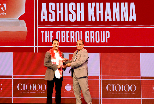 Customer Experience Icon: Ashish Khanna, Deputy VP-IT, Oberoi Group receives the CIO100 Special Award for 2019 from Narsimha Rao, Sales Director, Adobe