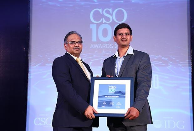 B Venkateshwar Rao, Manager - IT at Orient Cement receives the CSO100 Award for 2018