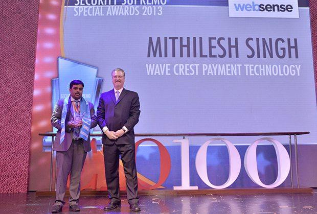 Security Supremo: Mithilesh Singh, Head -Information Security of Wavecrest Payment Technology, receives the CIO100 Special Award for 2013 from John McCormack, CEO, Websense