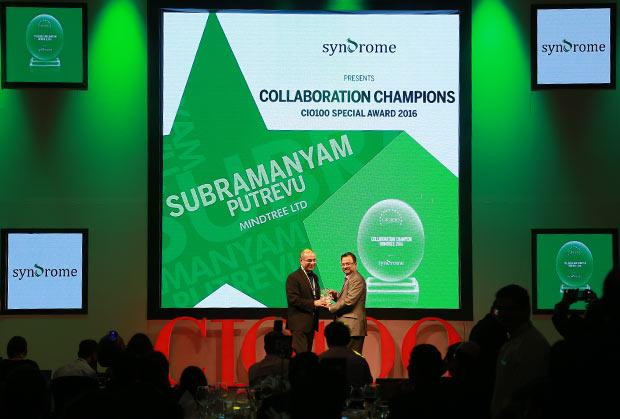 Collaboration Champion: Subramanyam Putrevu, CIO of Mindtree receives the CIO100 Special Award for 2016 from Yogesh Purohit, Director-Sales, Syndrome