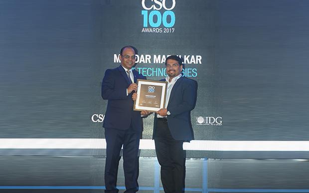 Mandar Marulkar, VP & HEAD IT, CISO, KPIT Technologies receives the CSO100 Award for 2017.
