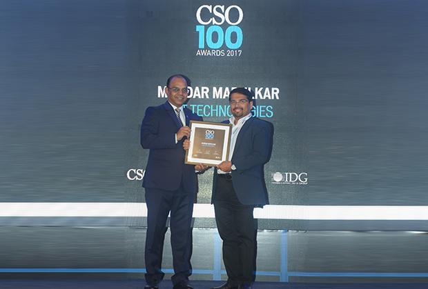 Mandar Marulkar, VP & HEAD IT, CISO, KPIT Technologies receives the CSO100 Award for 2017.