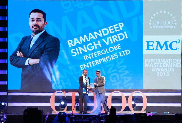 Information Mastermind: Ramandeep Singh Virdi, VP IT, Interglobe Enterprises receives the CIO100 Special Award for 2015 from Rajesh Janey, President-India and SAARC, EMC