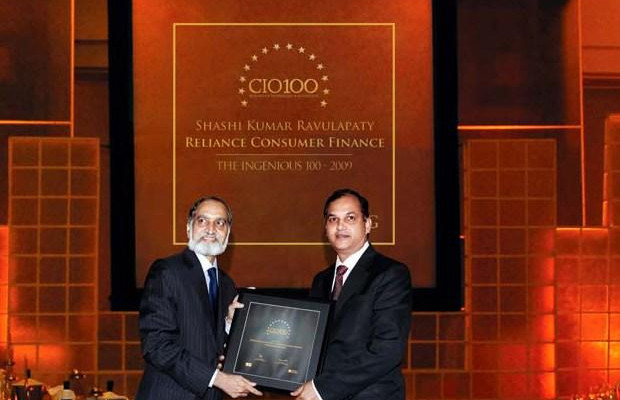 The Ingenious 100: Shashi Kumar Ravulapaty, Sr. VP & CTO of Reliance Capital receives the CIO100 Award for 2009