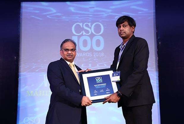 Vijay Radhakrishnan, CISO at Mahindra Financial Service Sector receives the CSO100 Award for 2018