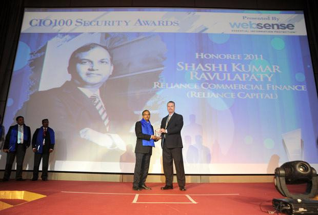 Security: Shashi Kumar Ravulapaty, Sr. VP & CTO of Reliance Capital receives the CIO100 Special Award for 2011 from John McCormack, President, Websense