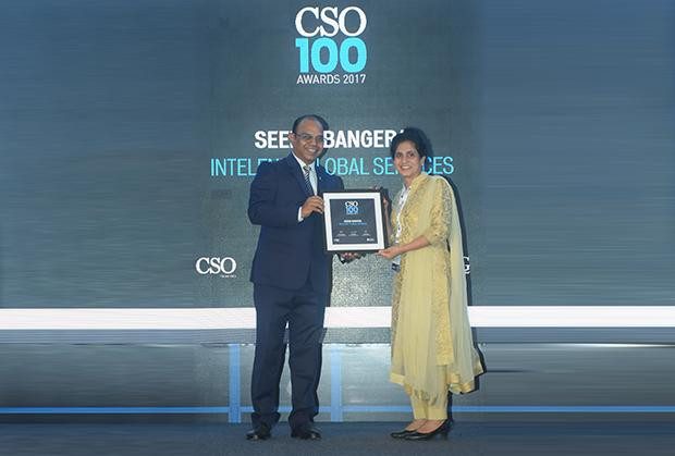 Seema Bangera, Deputy GM - Information Security at Intelenet Global Services receives the CSO100 Award for 2017