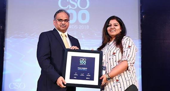 Pooja Chatrath,Vice President-IT,Cryoviva Biotech, receives the CSO100 Award for 2018