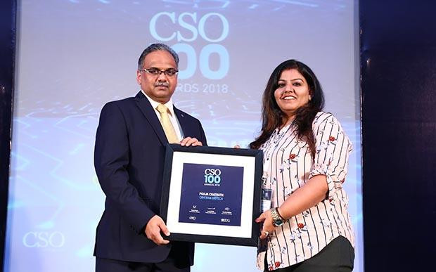 Pooja Chatrath,Vice President-IT,Cryoviva Biotech, receives the CSO100 Award for 2018
