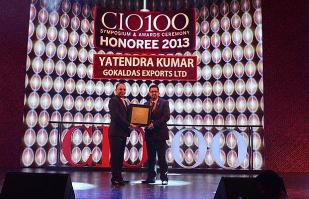 The Astute 100: Yatendra Kumar, Head-IT, Gokaldas Exports receives the CIO100 Award for 2013