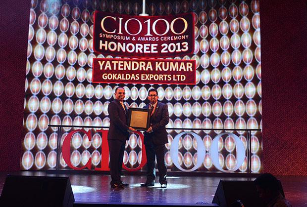 The Astute 100: Yatendra Kumar, Head-IT, Gokaldas Exports receives the CIO100 Award for 2013