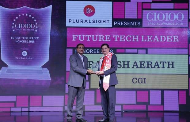 Future Tech Leader: Ashok Chaturvedula (on behalf of Rakesh Aerath- Senior VP & Business Unit Leader of CGI) receives the CIO100 special award for 2018 from Arun Rajamani Sivaramakrishnan, VP & Country Head Pluralsight India