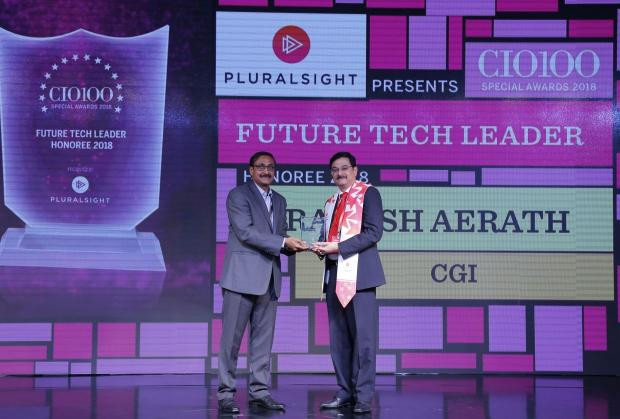 Future Tech Leader: Ashok Chaturvedula (on behalf of Rakesh Aerath- Senior VP & Business Unit Leader of CGI) receives the CIO100 special award for 2018 from Arun Rajamani Sivaramakrishnan, VP & Country Head Pluralsight India