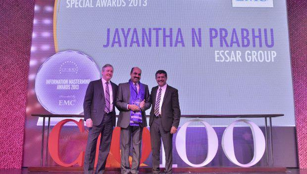 Information Mastermind: Jayantha Prabhu, CTO, Essar Group receives the CIO100 Special Award for 2013 from David Webster, President-APJ, EMC India and Rajesh Janey, President-India and SAARC, EMC