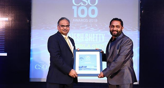 Rajesh Shetty, Senior Chief Manager Technology, Aditya Birla Sun Life Insurance receives the CSO100 Award for 2018