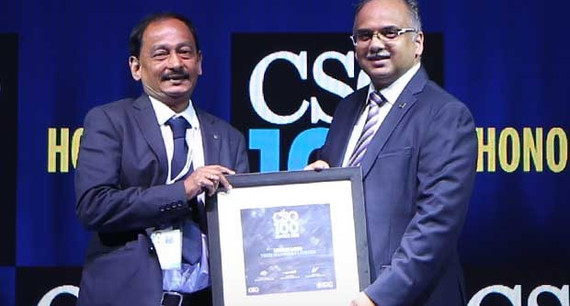 Harsha Sastry, Function Head - Global Business Continuity receives the CSO100 Award for 2019 on behalf of Lucius Lobo, CISO of Tech Mahindra