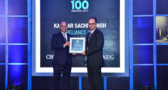 Sachit Singh, Assistant Vice President - IT Security, Reliance Jio Infocomm receives the CSO100 Award for 2017.