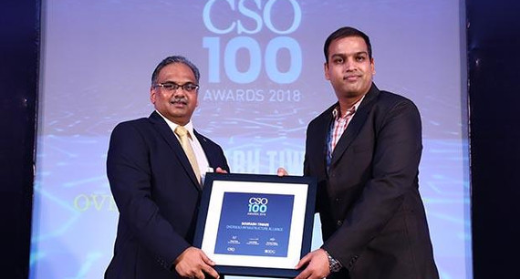 Sourabh Tiwari, CISO at Overseas Infrastructure Alliance receives the CSO100 Award for 2018