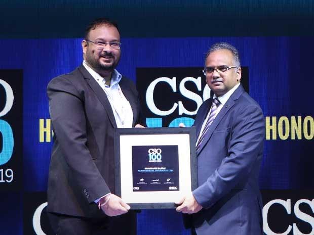 Shashank Bajpai, CISO of ACKO General Insurance receives CSO100 Award for 2019