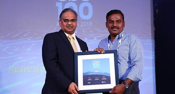 Jayakumar ND, Team Lead ITIM at Servion Global Solutions receives the CSO100 Award for 2018 on behalf of Jayan N, Head IT of Servion Global Solutions.