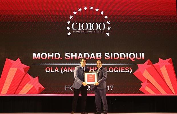 The Digital Innovators: Mohd. Shadab Siddiqui, Head of Security Ola, ANI Technologies receives the CIO100 Award for 2017