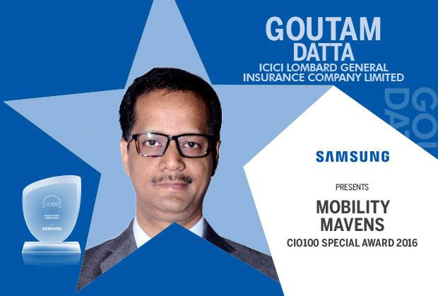 Mobility Maven: Goutam Datta, VP-Technology at ICICI Lombard General Insurance Company felicitated with the CIO100 Special Award for 2016, constituted in association with Samsung