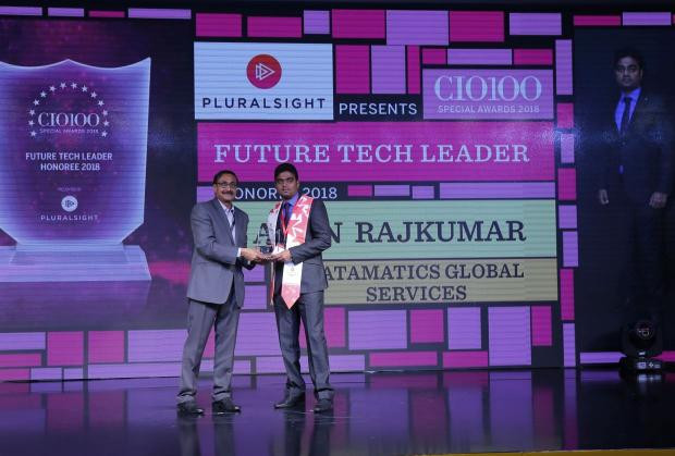 Future Tech Leader: Arun Rajkumar, Associate VP- Engineering Solutions, Datamatics Digital, receives the CIO100 special award for 2018 from Arun Rajamani Sivaramakrishnan, VP & Country Head Pluralsight India