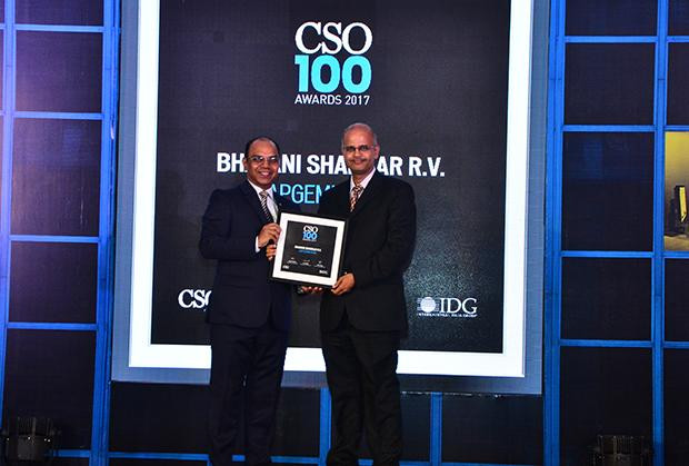Bhavani Shankar, Director - Information Security, Capgemini receives the CSO100 Award for 2017.