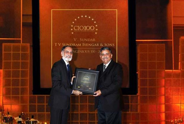 The Ingenious 100: V Sundar, CIO of TV Sundram Iyengar & Sons receives the CIO100 Award for 2009