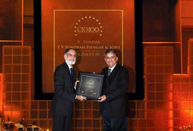 The Ingenious 100: V Sundar, CIO of TV Sundram Iyengar & Sons receives the CIO100 Award for 2009