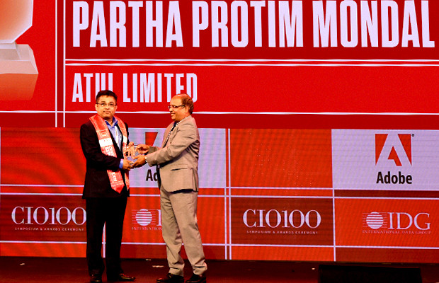 Customer Experience Icon: Partha Protim Mondal, VP-IT, Atul receives the CIO100 Special Award for 2019 from Narsimha Rao, Sales Director, Adobe