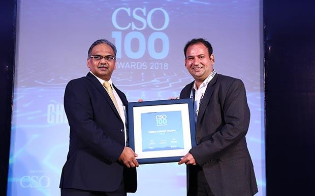 Chinmay Shrikant Pradhan, Practice Head – Technology and Cyber Security at NSE IT receives the CSO100 Award for 2018