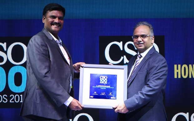 Amirthavalavan A, the IT Department Head at Tractors and Farm Equipment Limited (TAFE) receives the CSO100 Award for 2019