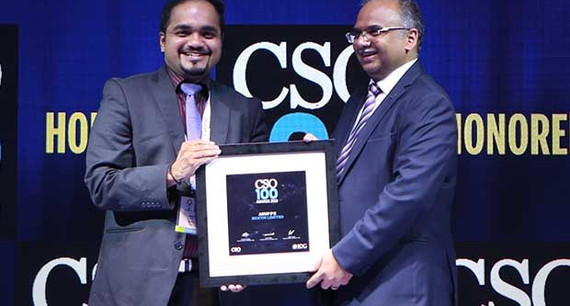Anup P K, Senior Manager – Risk & Compliance, Biocon receives the CSO100 Award for 2019
