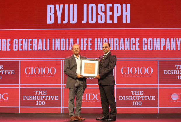 The Disruptive 100: Byju Joseph, Chief Technology Officer, Future Generali India Life Insurance Company receives the CIO100 Award for 2019