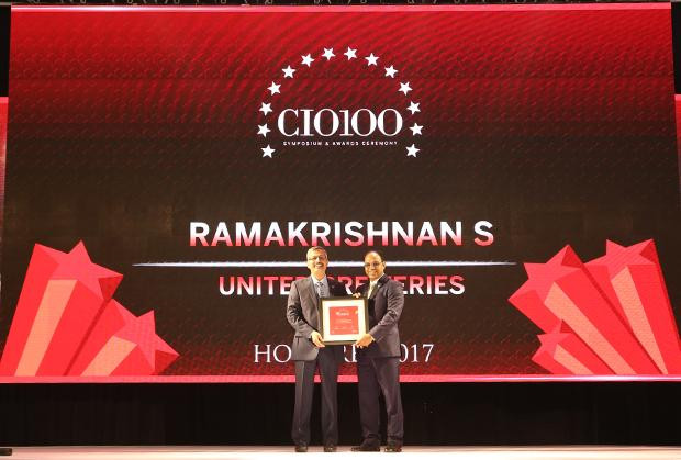 The Digital Innovators: S Ramakrishnan, Divisional VP-IT at United Breweries receives the CIO100 Award for 2017