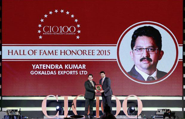 Hall of Fame: Yatendra Kumar, Head-IT, Gokaldas Exports receives the CIO100 Special Award for 2015