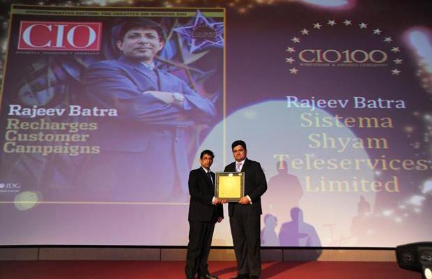 The Creative 100: Rajeev Batra, CIO of Sistema Shyam Teleservices receives the CIO100 Award for 2011