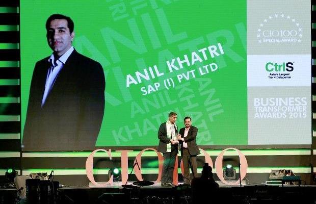Business Transformer: Anil Khatri, Head- IT of SAP India receives the CIO100 Special Award for 2015 from Anil Nama, CIO, CtrlS