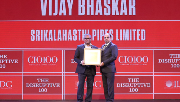The Disruptive 100: Vijay Bhaskar, Head –IT, Srikalahasthi Pipes (Electro Steel Group) receives the CIO100 Award for 2019