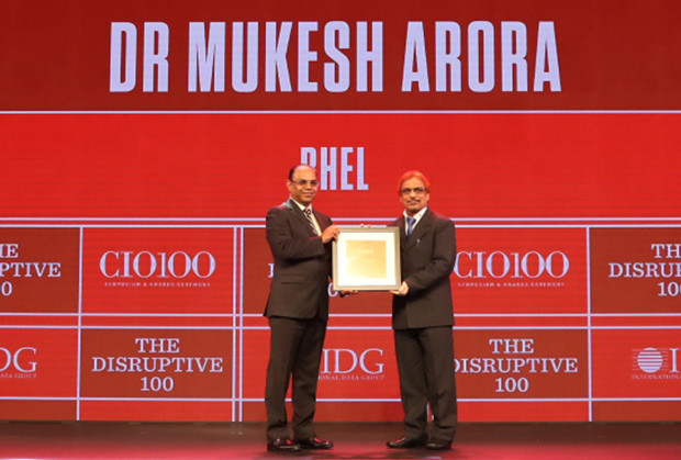 The Disruptive 100: Mukesh Arora, General Manager, Bharat Heavy Electricals Limited (BHEL) receives the CIO100 Award for 2019