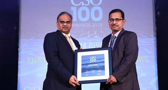 Krishna Dhumal, Dy.Director-IT of The Gem & Jewellery Export Promotion Council receives the CSO100 Award for 2018